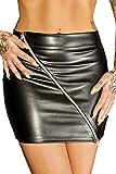 Schwarzer Minirock aus Leder-Imitat mit Reißverschluss wetlook Rock kurz Damen L
