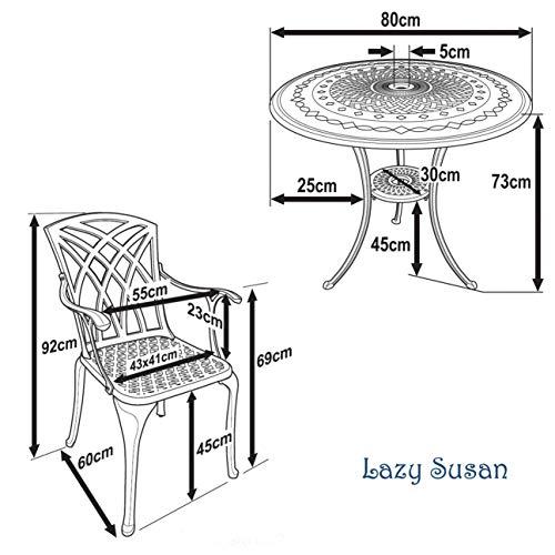 Lazy Susan – ANNA Gartentisch mit 2 Stühlen - 7
