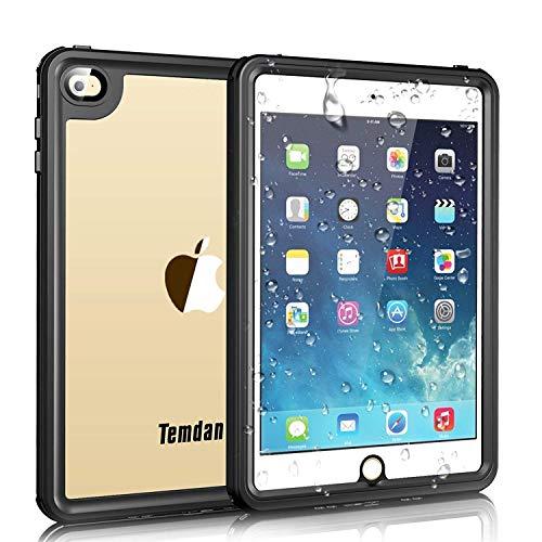 Temdan iPad Mini 4 Wasserdichte Hülle 360 Rundum Schutz Durchsichtig Robust Stoßfest Kind Schutzhülle mit Verstellbarem Ständer Bumper Kindersichere Hülle für iPad Mini 4 (7,9 Zoll) Schwarz