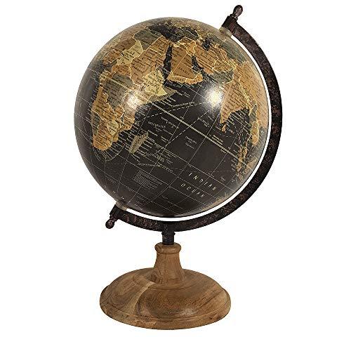 Ø Antike (zeitzone Globus Schwarz Weltkugel mit Holzständer Standglobus Antik-Stil Ø 20cm)