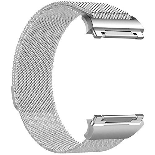 Uhrenarmbänder Btruely Magnetverschluss Milanese Loop Edelstahl Ersatzband für Fitbit Ionic Armband (Silber)