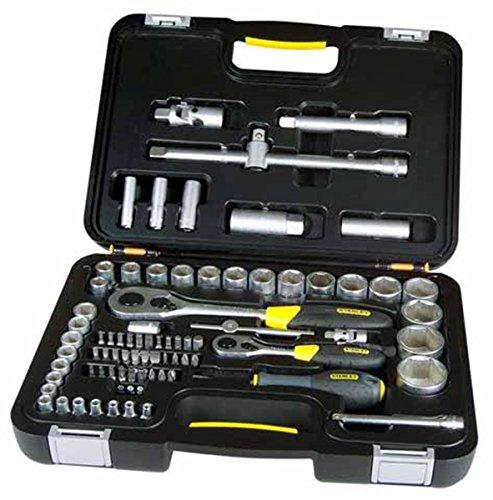 Stanley Steckschlüssel-Set (1/2 Zoll; 1/4 Zoll 77-tlg, 16-21mm, Umschaltknarre, Verlängerung 100-250 mm mit 3/8 Zoll Adapter) 1-94-669 (Stanley Steckschlüssel-set)