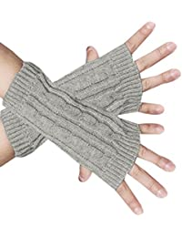 sourcingmap® Unisex Textured Design Warm Knitting Ribbed Winter Gloves Light Gray