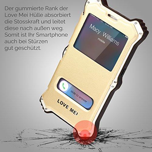 Original UrCover® Lovemei Outdoor Case mit QI Ladeempfänger Wallet Schutz Hülle für das Apple iPhone 6 / 6s Case Cover Schale Flip Handyhülle Tasche IPhone 6 / 6s Bumper [deutscher Fachhandel] Weiß Weiß