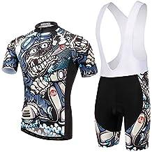 TeyxoCo Ciclismo Sportivo Men MTB Bright Gel Pad Bid Jersey Set XXL