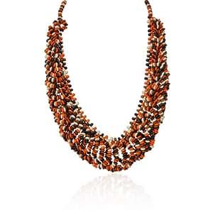 Nouveau Bijou Spécial Cadeau Orange Brun et Perle Noir Long Collier