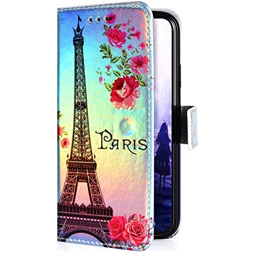 Uposao Kompatibel mit Samsung Galaxy S5 Hülle Leder Tasche Glitzer Bling Bunt Muster Flip Schutzhülle Handyhülle Book Case Brieftasche Wallet Cover Magnet Kartenfächer,Paris Turm Rose (Galaxy S5 Wallet Case Mit Bling)
