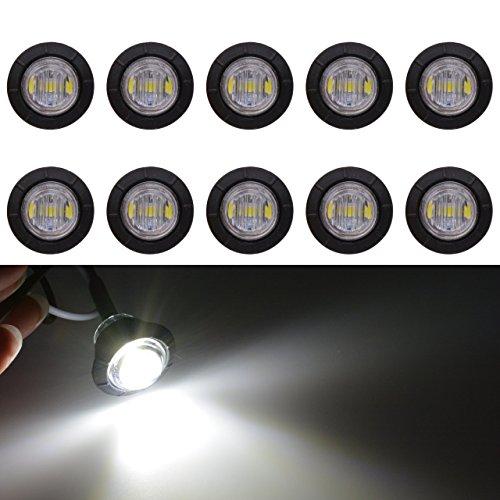 Tuincyn, luce LED bianca e rotonda da 1,9cm per automobili e furgoni. Utilizzabile come luce di posizione frontale, laterale e posteriore o come luce interna del bagagliaio(10 pezzi)