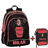 Schoolpack Zaino Orgnizzato A.C. MILAN + Astuccio 3 zip completo di cancelleria - scuola 2019-20