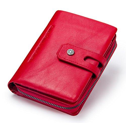 Contacts Echtes Leder Damen Bifold Trifold Coin Kartenhalter Kupplung Geldbörse mit Reißverschluss Tasche Rot (Tri-fold Coin Wallet)