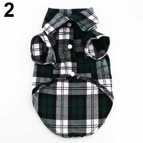 CricTeQleap Haustier-Kleidung, Kleiner Hund Plaid Shirt Revers Mantel Katze Jacke Kleidung Kostüm Top Bekleidung Green ()