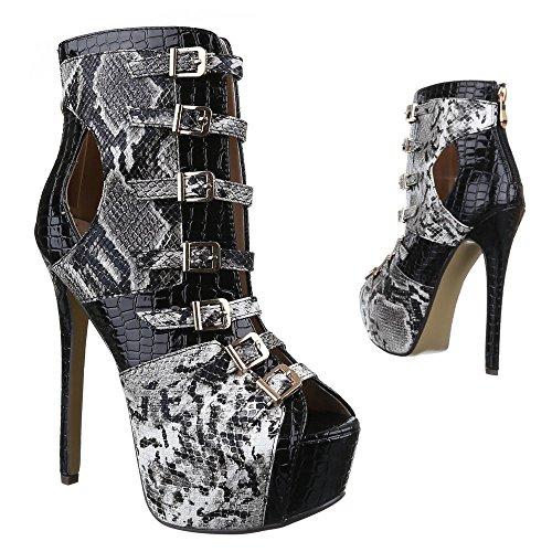 Ital-Design High Heel Damen Schuhe Plateau Pfennig-/Stilettoabsatz High Heels Reißverschluss Pumps Schwarz Grau