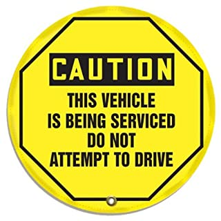 Accuform Signs KDD834 STOPOUT Vinyl Steering Wheel Message Cover, OSHA-Style Legend CAUTION THIS VEHICLE IS BEING SERVICED DO NOT ATTEMPT TO DRIVE, 24 Diameter, Black on Yellow by Accuform