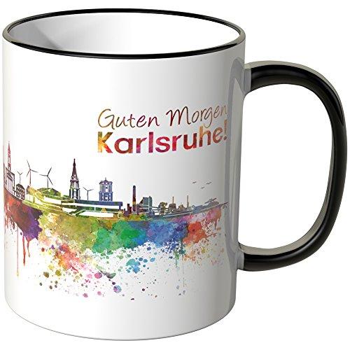"""Wandkings® Tasse, Schriftzug \""""Guten Morgen Karlsruhe!\"""" mit Skyline - SCHWARZ"""