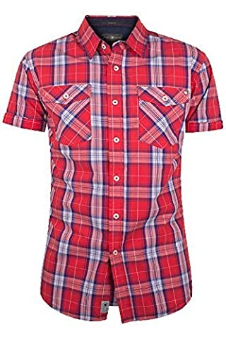 Crosshatch CH108519 Mens Backoff Check Shirt - Red Check - Small