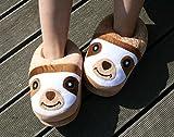 Süße Faultier Haus-Schuhe, Witzige Plüsch Slipper in Einheits-Größe; Puschen, Fun-Latschen Pantoffeln für Erwachsene und Jugendliche