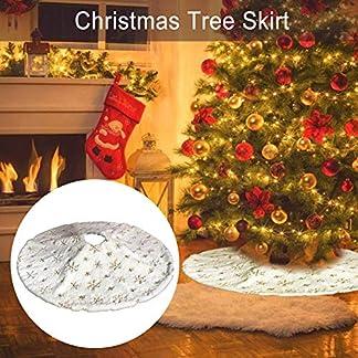 Falda de árbol de Navidad, 35/47 Pulgadas Decoración de Falda de árbol de Navidad de Felpa Blanca con diseño Dorado de Copo de Nieve | Decoración navideña de la Cubierta del árbol de Felpa