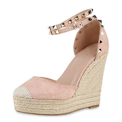 SCARPE VITA Damen Sandaletten Keilabsatz Nieten Bast Wedges Schuhe 160514 Rosa Nieten 39 - Schuhe Damen Stoff Sandalen Keil