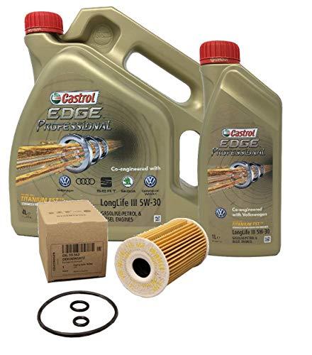 Castrol Edge Professional Olio LongLife III 5W-30, 5 Litri + Filtro Olio Originale 03L115562
