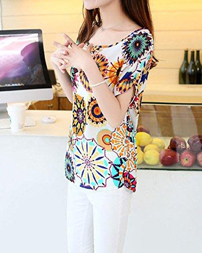 Camicia Maniche Corte O Collo Camicetta Donna Chiffon Stampato Blouse T Shirt Magliette Allentate Top Girasole