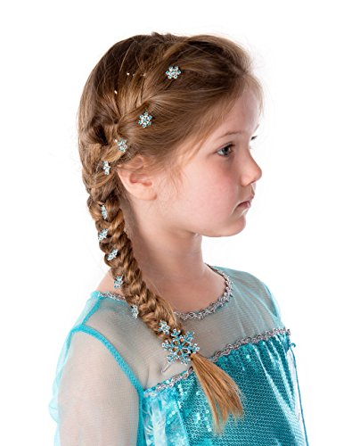 UK1stChoice-Zone ELSA & ANNA® Quality Girls 1 Hair Clip and 5 Hair Pins for Party Costume Fancy Dress