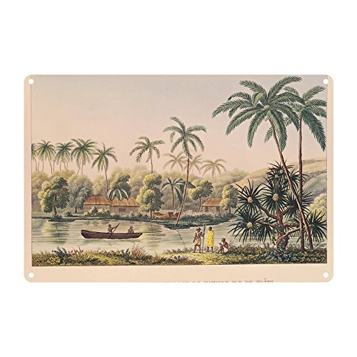 village-of-matavae-tahiti-illustration-premium-metal-sign-20x30cm-gloss-finish-advertising-signs-art