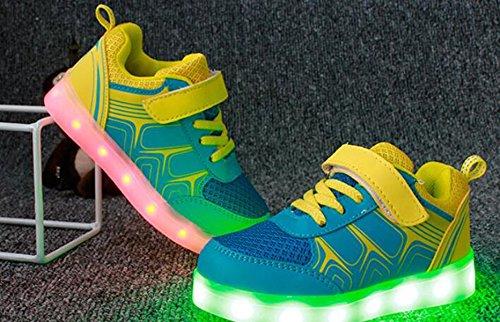 Firstmall-Chaussures 7 Couleur Unisexe garçons et filles enfants USB Charge LED Chaussures de Sports Baskets Bleu