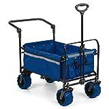 Waldbeck Easy Rider • Bollerwagen • Handwagen • bis 70kg belastbar • robuster und pflegeleichter 600D Polyesterbezug • 2 Sicherheitsgurte für Kinder • Teleskop- / Schubstange • zusammenklappbar • blau