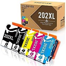 STAROVER 5 x 202XL 202 XL Cartouches d'encre Remplacement Compatibles Pour Epson Expression premium xp-6000/Epson Expression premium xp-6005 (1 Noir + 1 Photo Noir + 1 Cyan + 1 Magenta + 1Jaune)