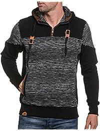 BLZ jeans - Sweat homme molleton noir rayé et capuche