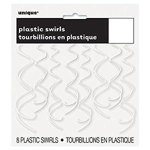 Unique Party Paquete de 8 Decoraciones Colgantes en Espiral de plástico, Color Blanco, 66 cm (63281)