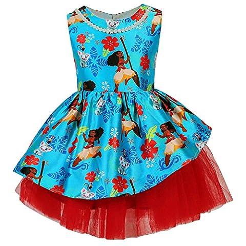 YuanDian Filles Enfants Moana Dessin Animé Imprimer Sans Manches Swing A Line Princesse Robe Danse Fete Anniversaire Cérémonie Soiree Robes 2-8 Ans(Gratuites Perles Chaîne)Dessin Animé 120#