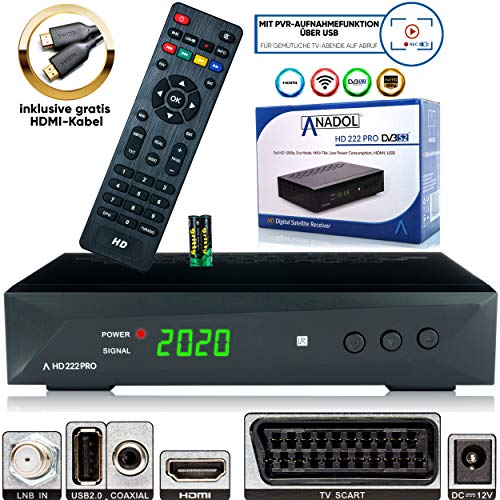 Anadol HD 222 Pro - PVR Aufnahmefunktion, Timeshift, Multimedia - 1080P Digital HDTV Sat-Receiver für Satellitenfernseher - Astra & Hotbird vorinstalliert - HDMI, SCART, USB, DVB-S/S2, HDMI Kabel
