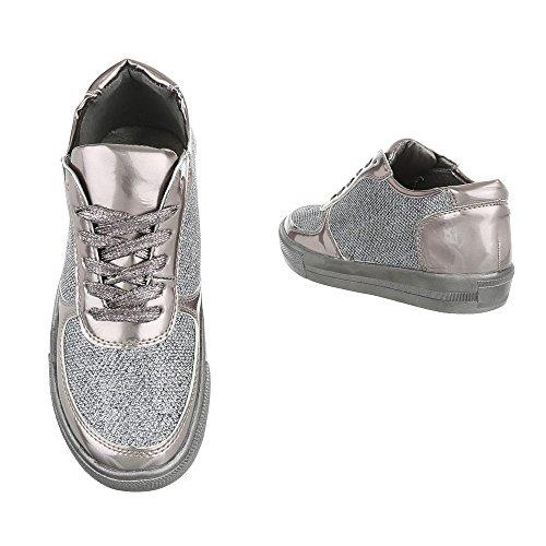 Low-Top Sneaker Damenschuhe Low-Top Sneakers Schnürsenkel Ital-Design Freizeitschuhe Silber Grau