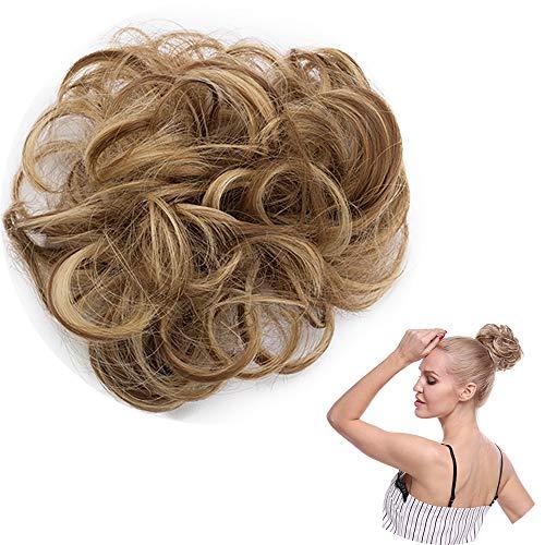 Chignon capelli finti ricci extensions elastico hair bun updo fai da te 30g (crocchia sottile, castano chiaro balayage biondo cenere)