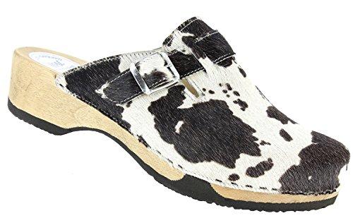 Vital 4510-153-92 Cow Moro Holzclogs/Holzpantoffel mit Echtem Kuhfell und Lederfutter (EU 42)