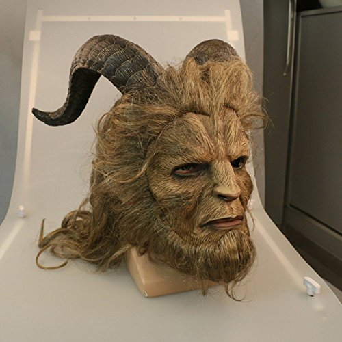 YK Beast Maske Schönheit und Erwachsene Helm Vollgesichtsmaske Royal Maske Robbie Benson LaTeX Maske Make-up Cosplay Partei Halloween LaTeX Maske (Long Hair)