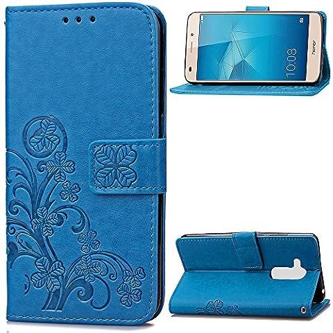 Coque Huawei Honor 5C Étui Bookstyle Bleu , Cozy Hut ® Motif trèfle chanceux Pure Couleur Housse en Cuir Case à Avec Dragonne rabat Coque de Intérieure Protection Souple Coque Portefeuille TPU Silicone Case Cover Pour Huawei Honor 5C (5.2 Pouces) - Bleu Clover