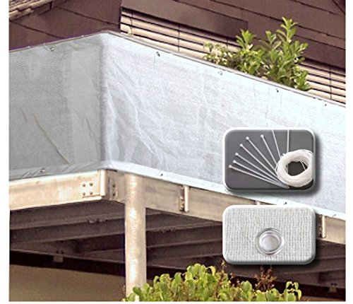 VARILANDO einfacher Garten-Sichtschutz aus weißem Kunststoff in zwei Größen Balkon-Umspannung Sichtschutz Sichtschutz-Netz Balkon-Sichtschutz (500 cm)
