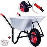 Masko® Schubkarre 100 Liter ✓ Bau Transportwagen ✓ Garten ✓ Luftrad ✓ Gartenkarre |belastbar bis 200kg | Modell:MSK-101 Eckig