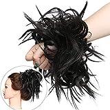 Extension Chignon Elastico Spettinato con Capelli Ricci Finti XXL Hair Magic Bun 45g Messy Curly Coda di Cavallo Treccia Carina - Marrone Cioccolato