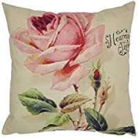 Oyedens Cotton Linen Cushion Cover Home Decor Square Rose Printed Throw Pillow Case