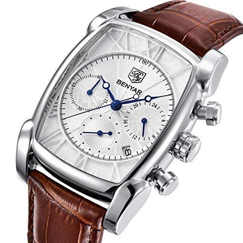Luxus Quarz Analog Chronograph Herrenuhren Klassisches Rechteck Wasserdichte Datum Armbanduhr mit Braunem Leder in Silberweiß