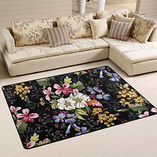XiangHeFu Personalisierte Teppiche Art Floral Blumenmuster Blatt 3'x2 '(36x24 Zoll) Boden Fußmatten Matte weich für Wohnzimmer Schlafzimmer Home Küche dekorativ -
