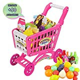 deAO SPC-P - Juego de carrito para niños (incluye 50 accesorios para la compra de alimentos, frutas, verduras y verduras), color rosa