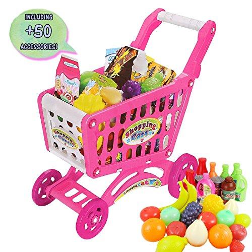 deAO Carrito de la Compra Infantil Incluye Variedad de 50 Productos de Mercado y Comestibles (Rosa)
