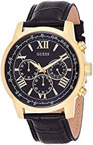 GUESS Mens Quartz Watch, Chronograph Display and Leather Strap W0380G7