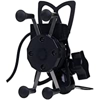 AutoTrends Bike Mobile Charger and Phone Holder for All Bikes (Black)