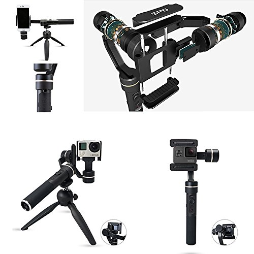 Top Feiyu SPG (Upgraded Splash waterproof version with extra battery and tripod) 3 Axis Handheld Stabilizer Gimbal for Gopro hero 5/4/3 and iPhone X/8/7/6 Huawei Samsung Galaxy Moto LG Smartphones Discount