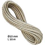 Liros Historic Seil 10 mm, 10 m lang, 3-schäftig gedreht, Hanfseil bzw. Naturseil Optik, jedoch mit besseren Eigenschaften